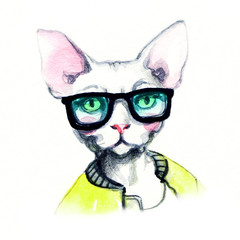 fashion animal .watercolor illustration