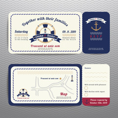 Obraz Nautical ticket wedding invitation and RSVP card  with anchor ro - fototapety do salonu