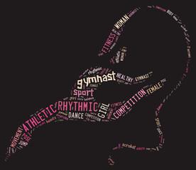 rhythmic gymnastic pictogram with related wordings on grey backg