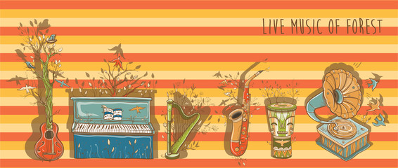 Vector bright illustration of live music with musical instrument