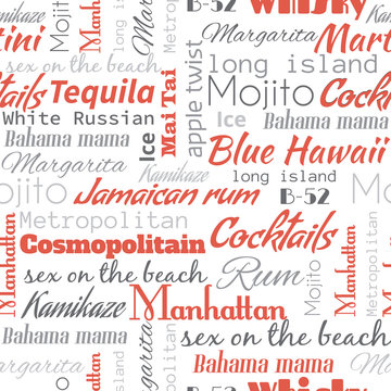 Alcohol Cocktails words, tags. Seamless pattern
