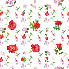 Vintage style watercolour flowers seamless background pattern