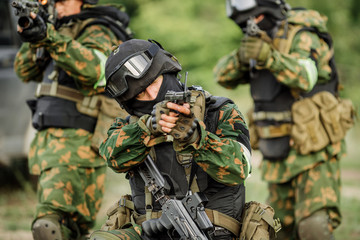 Russian special forces operators in uniform and bulletproof vest