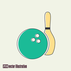 Vector illustration of bowling ball and skittle