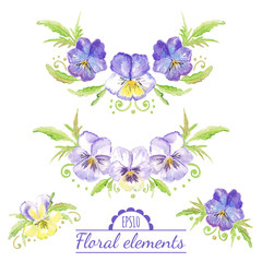 Vector watercolor floral elements.