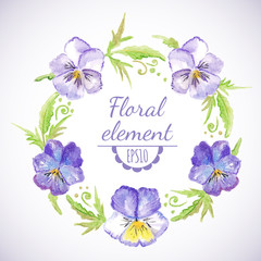 Vector watercolor floral wreath.