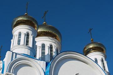 Golden cupolas of the cathedral of Astana city, Astana, Kazakhstan.