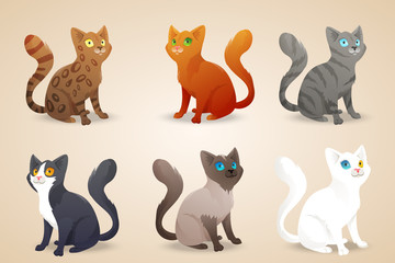 Set of cute cartoon cats with different colored fur and type of