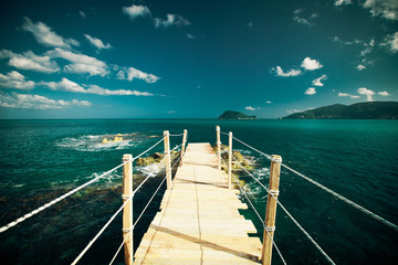 wooden bridge - sea, summer.