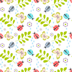 Seamless floral vector pattern with ladybug