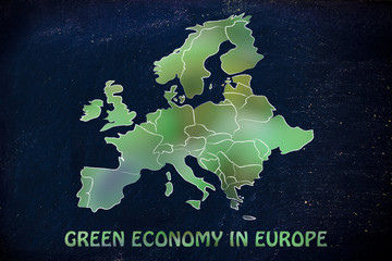 map of europe with green leaves blur, concept of green economy i
