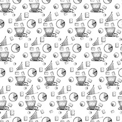hand drawn doodles seamless business pattern
