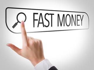 Fast Money written in search bar on virtual screen