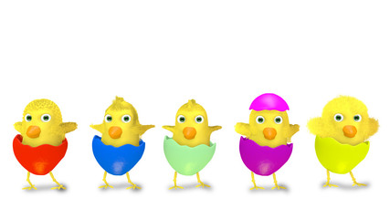 cartoon Easter chickens isolated on white