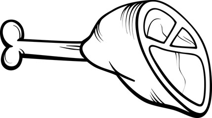 ham meat cartoon coloring page