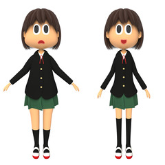 体型の違った女子高生
