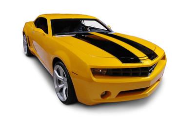 Yellow American Sports Car