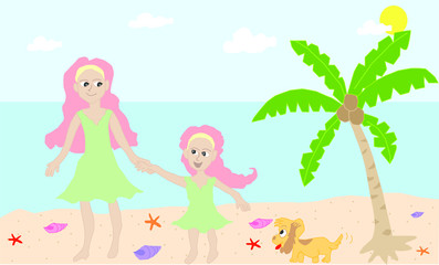 Mom and daughter bonding at the beach