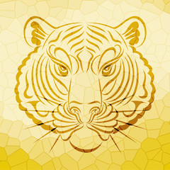 abstract tiger face design on crystal pattern background vector