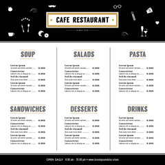 Restaurant Menu Design Hipster Template layout with text graphic element