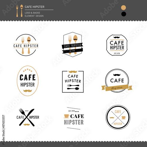 Set of Hipster Logo Restaurant and Cafe Emblem and Badge