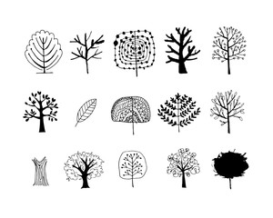 Set of art trees design