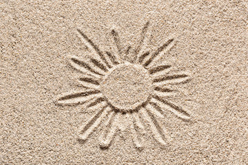 Sand Drawing. Sun Drawn in the Sand.