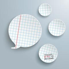 Checked Paper Speech Bubble 3 Circles