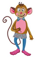 Funny monkey in a polka-dot shorts.White background.