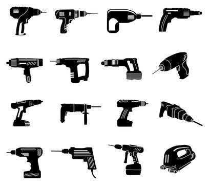 Power tools icons set