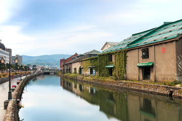 Otaru, historic canal and warehousedistrict in Hokkaido, Japan