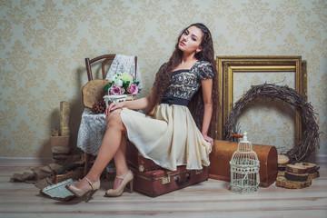 Pretty young woman in rustic interior