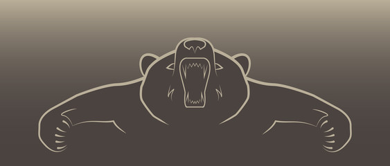 angry brown bear illustration logo
