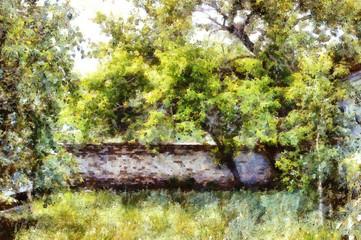Старый кирпичный забор, рисунок