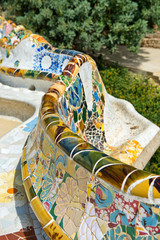 Main Terrace at Parc Guell in Barcelona, Spain