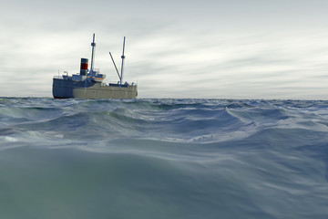 A high quality 3D render of a tramp steamer moving across a choppy sea with an overcast sky. Ship is fictitious, created and modelled entirely by myself. Low camera angle to emphasize the rough sea.