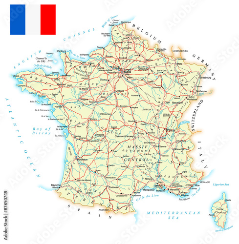 Map Of France With City Names.France Detailed Map Illustration Map Contains Topographic