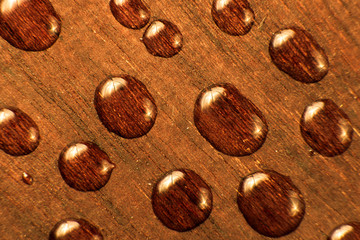 water drop on wood background