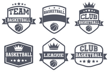 Set of Vintage Basketball Club Badge and Label