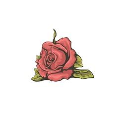 Red stylized rose isolated on white background.