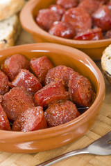 Chorizo a la Sidra - Spanish spicy chorizo sausages cooked in cider.