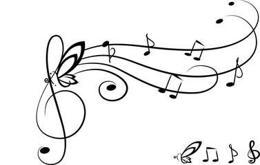 Chiave di violino, portativo e farfafalla