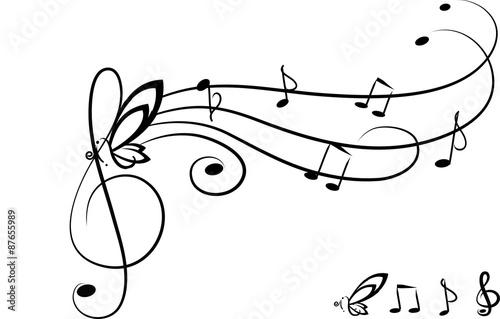 Chiave Di Violino Portativo E Farfafalla Stock Image And Royalty