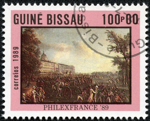stamp printed in the Guinea-Bissau shows Armed Mob
