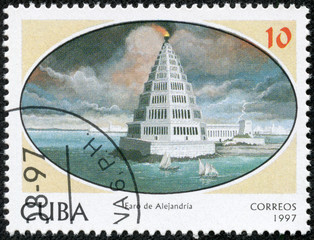 stamp printed in the Cuba shows Lighthouse of Alexandria