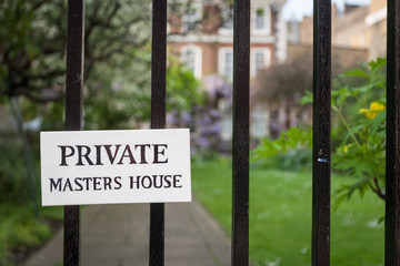 Private Garden sign for a Masters House in London's Temple Bar legal district.  The masters make up a governing council within the legal community of the area.