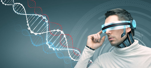 man with futuristic 3d glasses and sensors