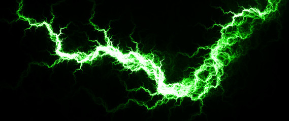 Electric Green - Digital fractal of hot green lightning, electrical background. Wall mural