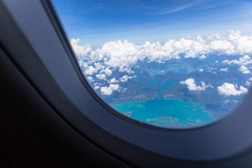 Sea of Thailand when see through airplane window