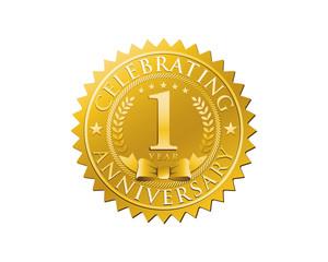 anniversary logo golden emblem 1